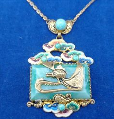 Vintage Art Deco Max Neiger Chinese Design Enamelled Pendant Necklace Lavaliere #MaxNeiger
