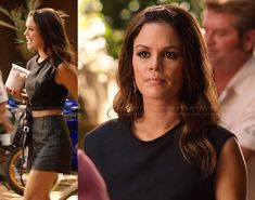 Zoe's grey tweed shorts and black crop top on Hart of Dixie.  Outfit Details: http://wornontv.net/21788/ #HartofDixie
