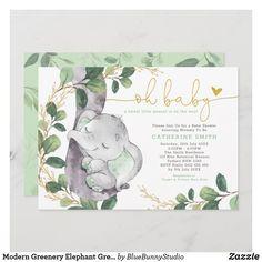 Modern Greenery Elephant Green Gold Baby Shower Invitation Watercolor Invitations, Gold Invitations, Invites, Invitation Cards, Gender Neutral Baby Shower, Baby Boy Shower, Baby Shower Green, Virtual Baby Shower, Gold Baby Showers