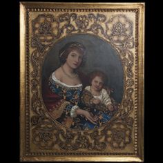 "DESCRIPTION:Oil on canvas painting depicting a beautiful queenly woman dressed in lavish royal garbs with her son on her lap smiling for the pose. The painting is surrounded by thicker oil paint of floral designs, giving it a relief motif. Framed in a lavish gilt wooden frame and signed: ""Andrevs"" CIRCA:Late 19th-Early 20th Ct. ORIGIN:Unknown DIMENSIONS:With Frame: H:45.5"" L:35.5"" Withour Frame: H:39.75"" L:30"""