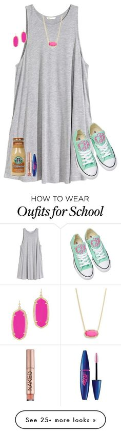 """Day 2: Last Day of School"" by typical-lizzie on Polyvore featuring H&M, Kendra Scott, Converse, Urban Decay, Maybelline and schoolsoutmadiandashe"