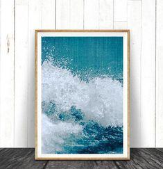 Beach Decor Ocean Wave Art Print Coastal Printable by lilandlola Frames On Wall, Framed Wall Art, Wall Art Prints, Funny Text Art, Trending Art, Water Walls, Wave Art, Water Photography, Texture Art