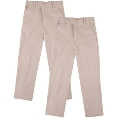 George Boys School Uniforms Flat Front Pants, 2-Pack Value Bundle, Sizes 4-16, Size: 12, Beige