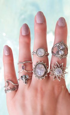 Rainbow Moonstone Rings from Boho Lake ❤️✨