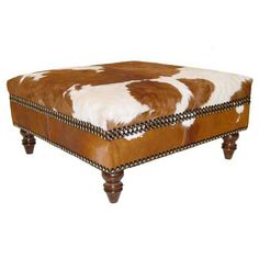 Cowhide Large Ottoman - Ottomans and Benches - Accent Furniture - Furniture - PoshLiving