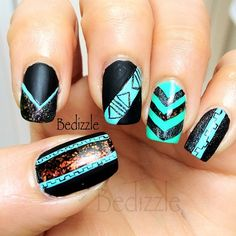 .teal and black chevron