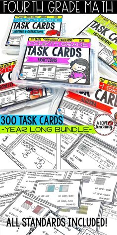 Easily reinforce math skills with this yearly bundle of 300 task cards for 4th-grade Math. These task cards are the perfect tool to use as the end of a unit for review. They are also easy to implement into math centers throughout the year. Other options include: math rotations, math groups, morning work, desk work, homework, summer review, and test prep.  *Also perfect to use as a review in 5th grade!