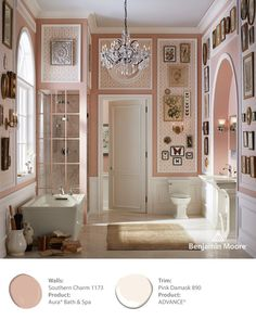 benjamin moore paint  walls southern charm #1173  product: dura bath and spa  trim pink damask  product:advance  PERFECT COLORS!!!