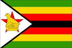 Zimbabwe flag . green stands for vegetation , yellow for the minerals , red for the blood that was shed during the war , white for peace and black for the black majority