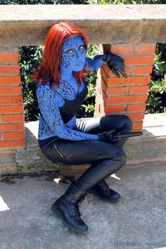 This is exactly the version of Mystique I'm going as, although it wasn't necessary for her to incorporate the markings. There WAS a point Mystique was you average blue-complexioned mutant.