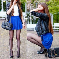 Ariadna Majewska - Znu White And Blue Jumpsuit, H&M Black Leather Jacket, Black Quilted Bag - Black & Blue