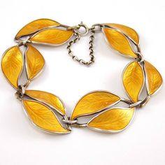 "VTG David Andersen Sterling Silver Modernist Yellow Enamel Leaf Bracelet 7.5"" #DavidAndersen"