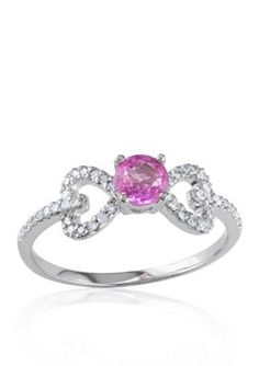 Belk  Co.  10k White Gold Pink Sapphire and Diamond Ring