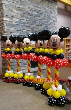 MICKEY INSPIRED THEMED BALLOON COLUMNS This is not an original design by me. But it is my work. My client brought me their idea from a picture they had seen & I recreated it in my own way for their event. Mickey Mouse Birthday Theme, Mickey E Minnie Mouse, Mickey Mouse Wreath, Minnie Mouse Balloons, Mickey 1st Birthdays, Fiesta Mickey Mouse, Elmo Birthday, Dinosaur Birthday, Mickey Mouse Birthday Decorations