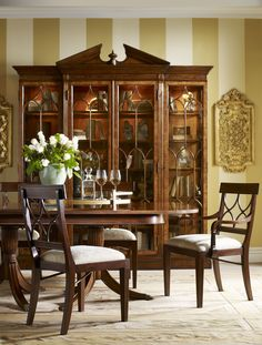 """""""Classical English Georgian and Regency style inspired replicas using Crotch Mahogany veneers this has been Jonathan Charles' best selling collection since its launch. Covering a wide range of categories from dining to bedroom. A collection that finds its way to an interior designers heart..."""" #JonathanCharles #Buckingham #Furniture #InteriorDesign #Hpmkt #Decorex"""