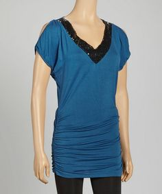 Take a look at this Teal & Black Sequin Ruched Tunic by Chris & Carol on #zulily today!