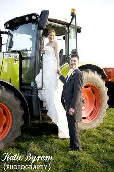 Bride and groom tractor wedding photo at High House Farm Brewery, Northumberland.