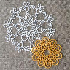 Doily No.3 Raindrops (Free patterns) - tatting lace, Marmelo