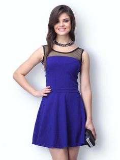 Buy FabAlley Blue Mesh Mire Skater Dress - 379 - Apparel for Women Frack, Indian Dresses, Skater Dress, Dress Outfits, Vogue, Female, Clothes For Women, How To Wear, Stuff To Buy
