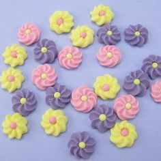 Pack Of 28 Small Mauve, Pink & Yellow Icing Flowers