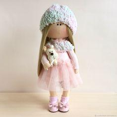 Купить Малышка с собачкой. - бледно-розовый, интерьерная кукла, коллекционная кукла, текстильная кукла