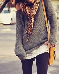 cute baggy sweatshirt, & scarf. <3