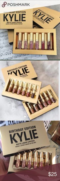 Kylie Jenner Birthday lip kit 6 minnie Matte New PLEASE read these are the 6 minnie Matte New in the shiny gold box they are not full size these are the minnie and they don't come in a Birthday box or special gift wrap HENCE the price you are getting 6 minnie 6 shades in a gold box as picture in photos they will ship in black plastic wrap no special wrapping thanks Kylie Cosmetics Makeup Lipstick