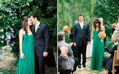 Love a bride that isn't afraid of colour.. emerald green wedding dress