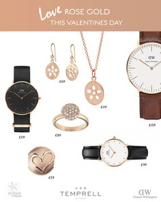 Love Rose gold this Valentines Day at Temprell  #ByBiehl #Danielwellington #jewellery #gift #love #watch #earrings #pendant #heart #sparkle