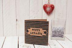 Hand printed 'Happy Birthday' lino print recycled kraft card