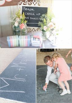 chalk board dance floor...how awesome is that?