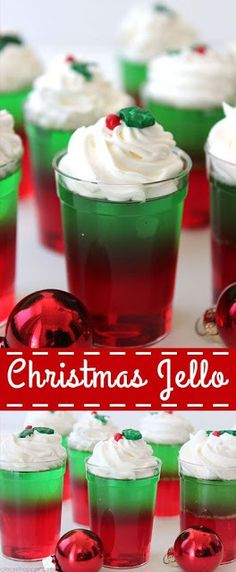 Christmas Jello Christmas Jell-O Cups & so incredibly simple to make for your Christmas parties and get-togethers. Super inexpensive and great for feeding a crowd. The post Christmas Jello appeared first on Lynne Seawell& World. Christmas Party Food, Xmas Food, Christmas Appetizers, Christmas Sweets, Christmas Cooking, Noel Christmas, Christmas Goodies, Holiday Desserts, Holiday Baking