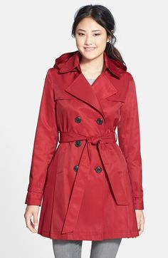 $139 free shipping  DKNY Skirted Hooded Trench Coat available at #Nordstrom