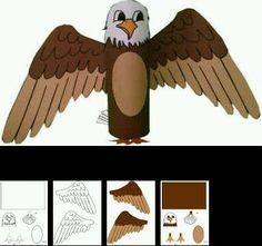 """Rouleaux wc animaux """"pré-fabriqué"""" Eagle Craft, Diy For Kids, Crafts For Kids, Eagle Project, Diy And Crafts, Paper Crafts, Lucky Luke, Indian Crafts, Toilet Paper Roll"""