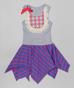 Love this Gray & Fuchsia Handkerchief Dress - Infant, Toddler & Girls by Ruby and Rosie on #zulily! #zulilyfinds