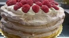 Pavlovovej torta s mascarpone a malinami (fotorecept) - recept Banana Cream, Pavlova, Cheesecake, Food And Drink, Pudding, Yummy Food, Breakfast, Sweet, Recipes