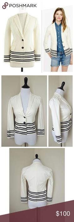{j. crew} maritime blazer in placed stripe A classy and elegant maritime blazer in place stripe from J. Crew retail (not factory)  Crafted from a knit ponte cotton that's soft and structured, this blazer is super flattering and super comfortable. It's updated for the season with a nautical-inspired placed stripe, along with partial lining: key to creating a smooth but slim silhouette, it's a dapper detail you'll often see in men's warm-weather suiting.  Slim fit. Cotton.   Brand new with…
