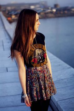 band t-shirt, floral skirt & black tights I really like this idea! maybe for school?