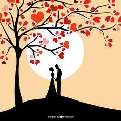Sun couple silhouette design