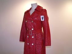 Long Red Vinyl Raincoat