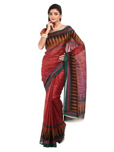 SATRANG RED TRADITIONAL SAREE