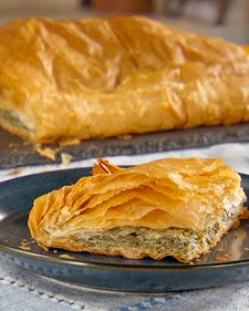 In Albanian, this savory spinach pie is called Byrek Mi Spinaq and, with its delicate layers of phyllo dough, spinach, and cream, it's a very popular dish. The pie can also be frozen after it is assembled and thawed before baking.