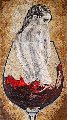 Nude In Wine Glass Fantasy Art Mosaic | Clearance | Mozaico