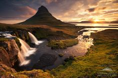 "Good Morning in Icelandic by Stefan Hefele, via 500px -   ""An""almost"" arctic sunrise on the legendary Peninsula Snaefellsness in Iceland.   Thanks to my extreme wide angle I could bring the Kirkjufellfalls with the Kirkjufell in the background and the rising sun on one photo."""