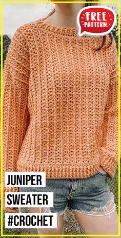 Crochet Jumper Free Pattern, Sweater Knitting Patterns, Free Crochet Jacket Patterns, Free Chunky Knitting Patterns, All Free Crochet, Crochet Jumpers, Crochet Vests, Crochet Sweaters, Crochet Blouse