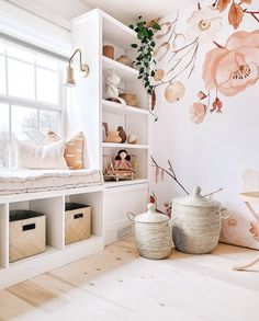 How cute is this girls bedroom with soft shades of pink? White built in shelves and a floral mural complete this cozy space! Diy Built In Shelves, Shelves In Bedroom, Bedroom Built Ins, White Shelves, Room Ideas Bedroom, My New Room, Girl Room, Girl Toddler Bedroom, Room Inspiration