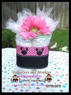 Minnie Mouse Mini Diaper Cake Centerpiece by PolkaDotsdiapercakes, $10.00