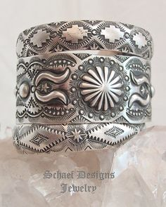 Vince Platero VJP small hand stamped repousse sterling silver cuff bracelet artist signed | Schaef Designs Southwestern turquoise Jewelry | New Mexico