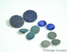 Vintage Blue Fabric Buttons