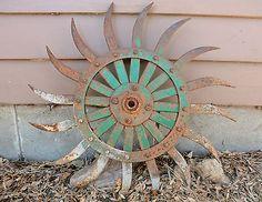 "Antique Vintage Metal 20"" JD Green Rotary Hoe Wheel Gear Old Rustic Garden Art"